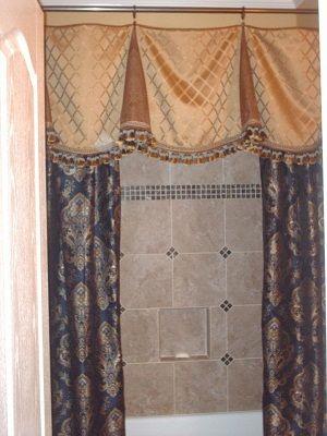 Custom Sewn Shower Curtain And Valance