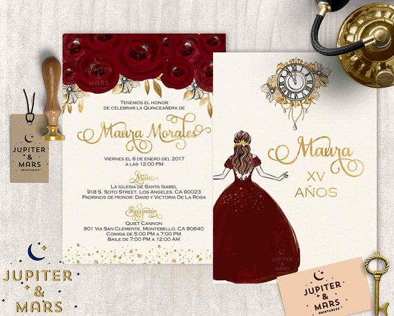 Gold, Burgundy Quinceañera Invitation, Quinceanera Invitation