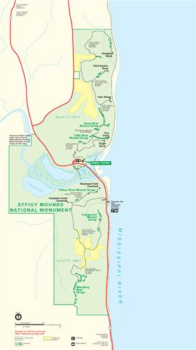 Effigy Mounds National Monument map showing main unit. Map does not ...