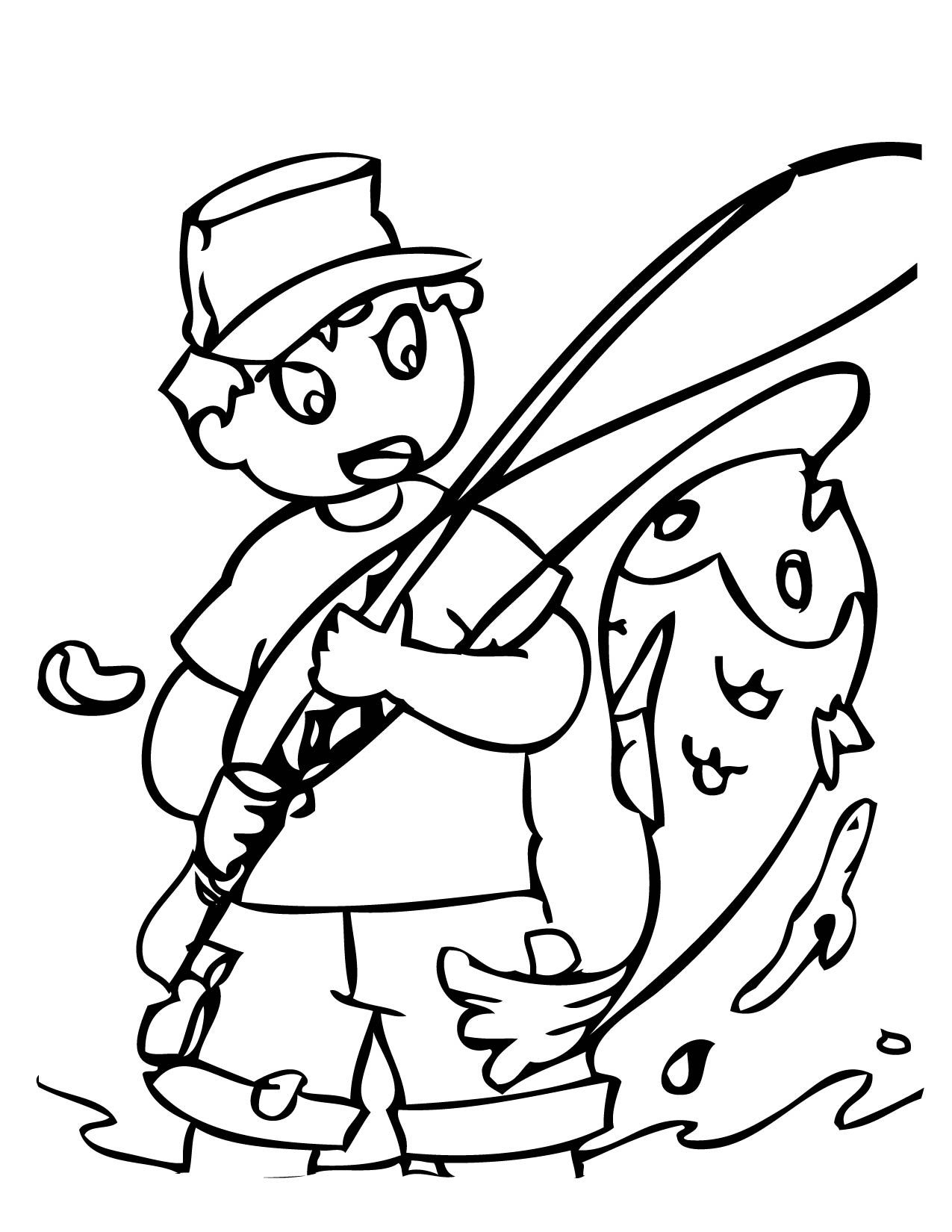 boy number 2 fishing - Fish Coloring Pages 2