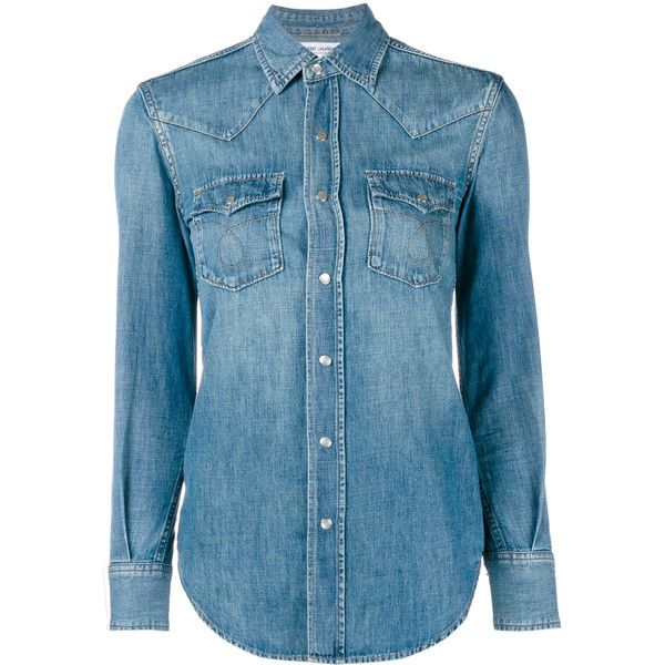 Saint Laurent Classic Denim Shirt (14,180 MXN) ❤ liked on Polyvore featuring tops, shirts, slimming tops, cowboy shirt, denim top, yves saint laurent shirt and denim shirt