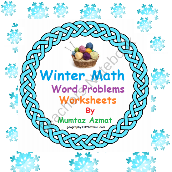 Winter Math Addition Word Problems Worksheets with Pictures : from ...