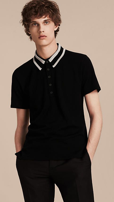 Preto branco Camisa polo de lã com colarinho listrado - Imagem 2 ... b1111a69a0b8a