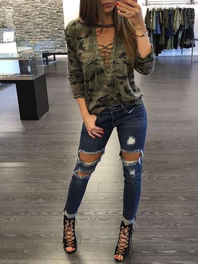 Trendy Camouflage Print Lace Up Top Camouflage Printing