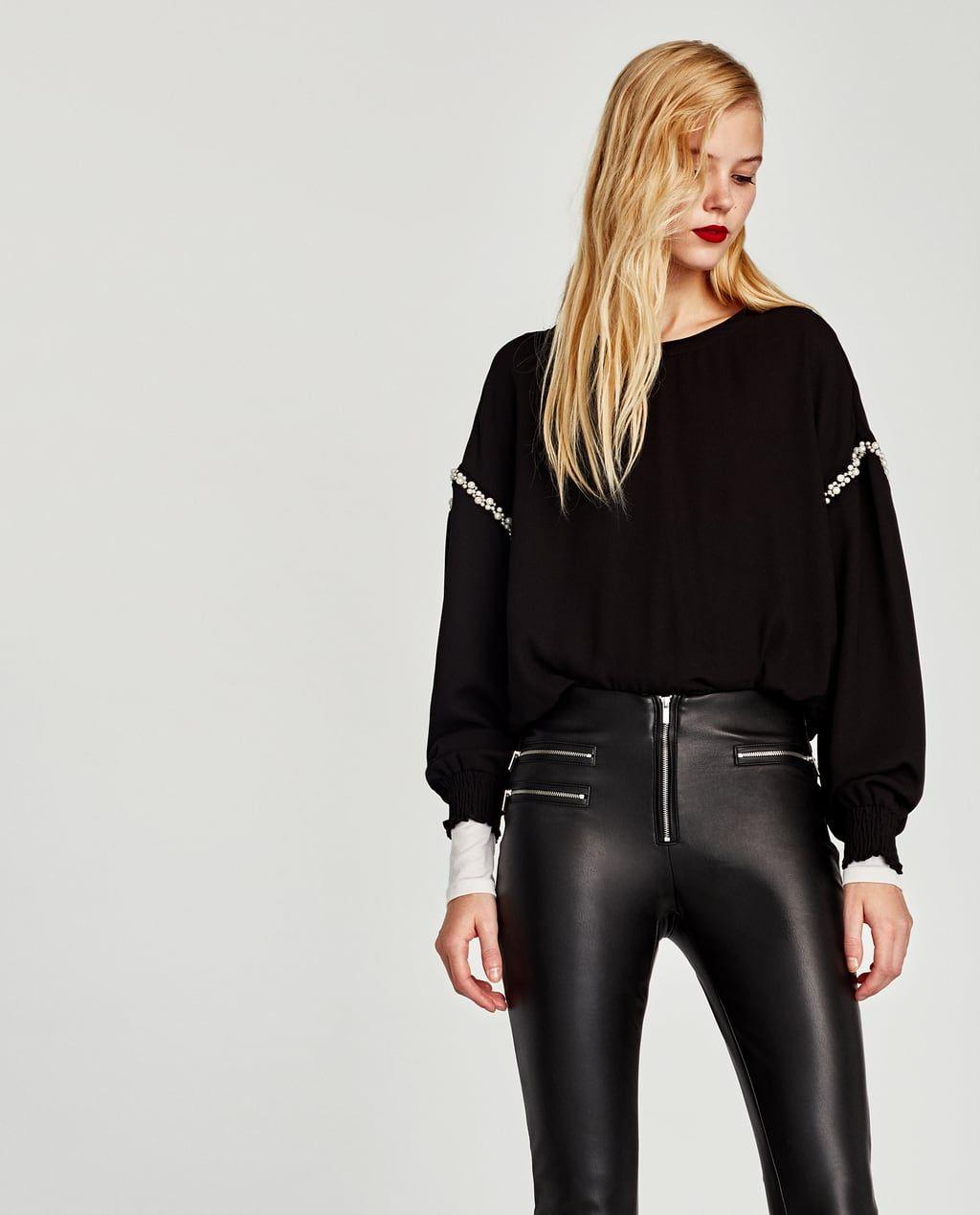Zara Dan 2 Fermuarli Suni Deri Pantolon Resmi Pantolon Zara Giyim