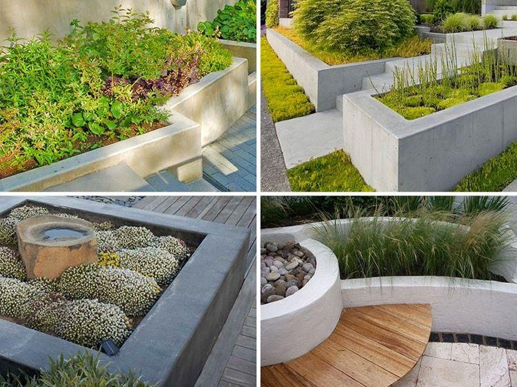 parterre sur lev et bac fleurs en b ton 10 id es modernes et cr atives gardens. Black Bedroom Furniture Sets. Home Design Ideas