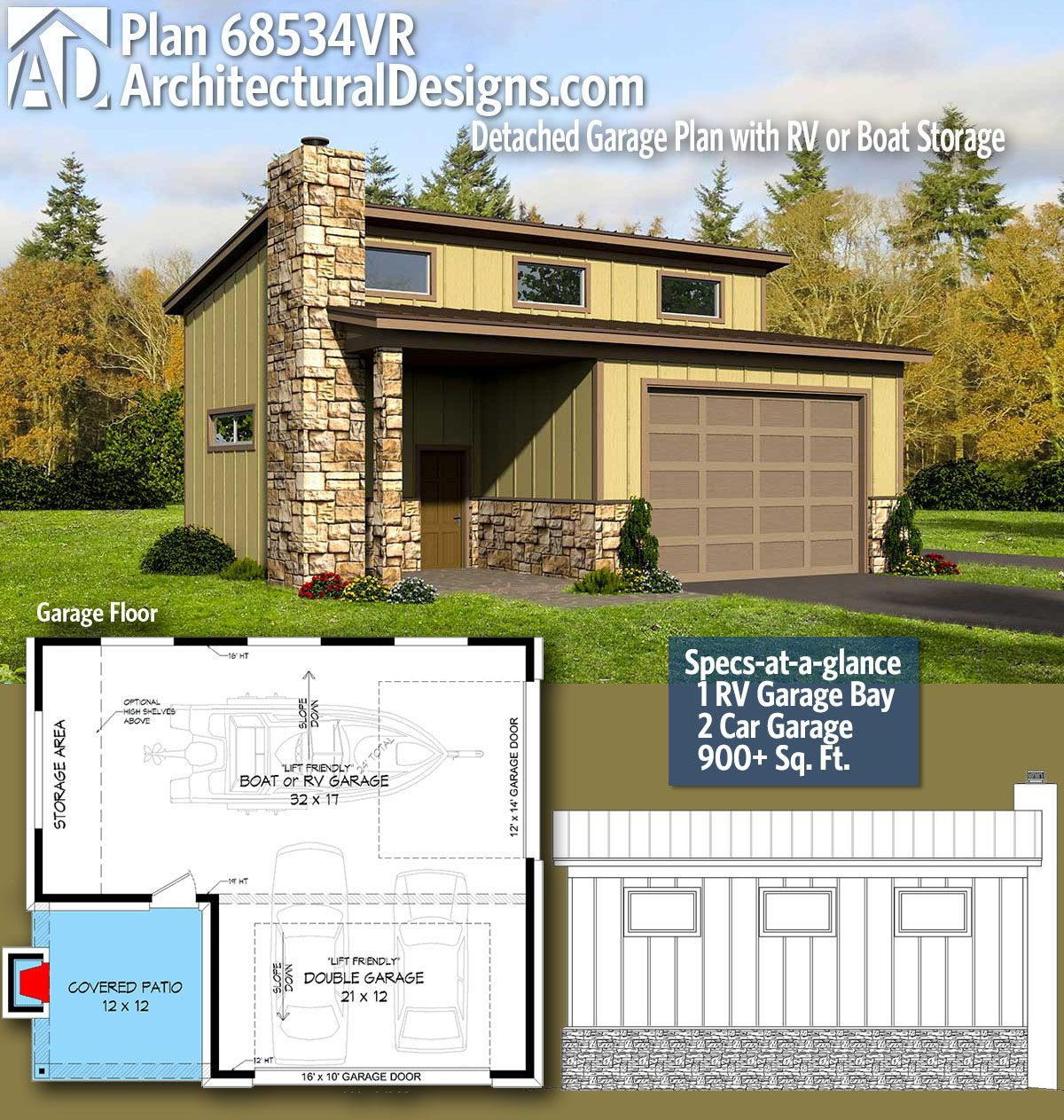 Plan 68534vr Detached Garage Plan With Rv Or Boat Storage Garage Plans Detached Garage Plan Carriage House Plans
