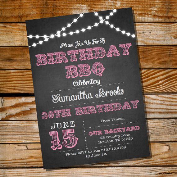 Chalkboard Bbq Birthday Invitation  Th Th St Th Th Th