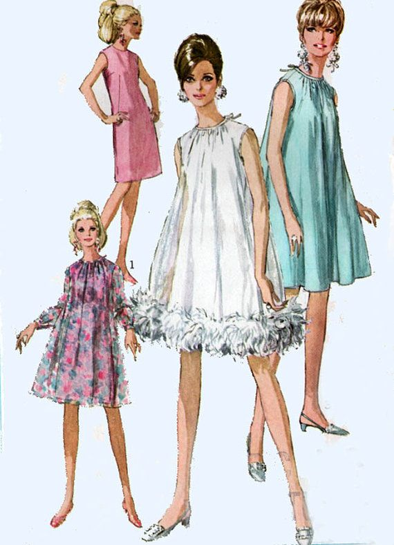 60s Vintage Sewing Pattern Simplicity 7340 Madmen Sheath or Tent ...