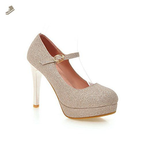 Womens Zipper Round-Toe Imitated Leather Pumps-Shoes