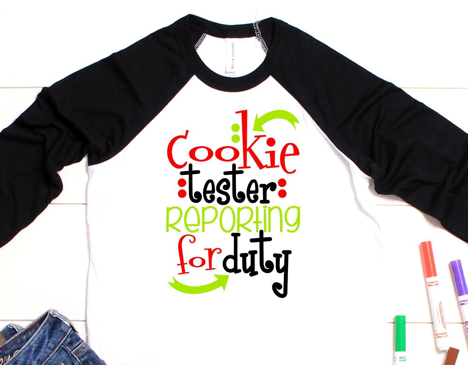Cookie tester reporting for Duty raglan ~ Kids christmas shirt ...