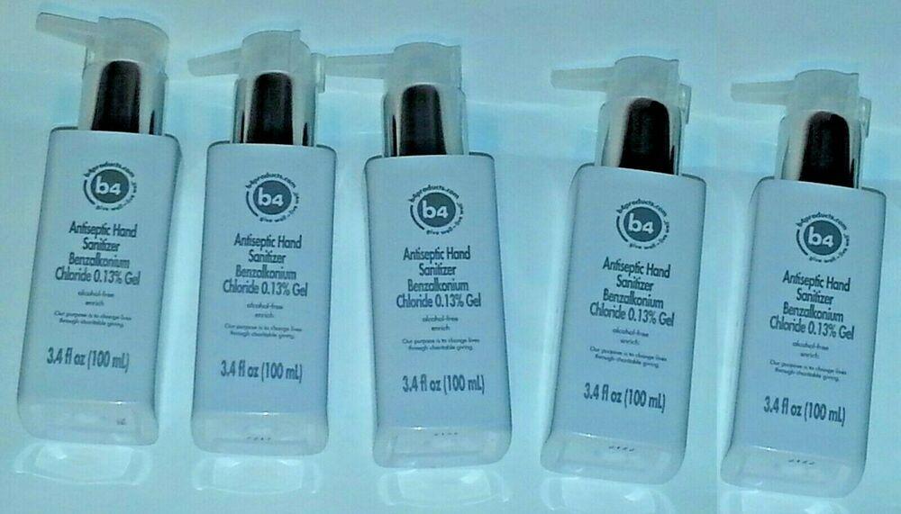 Lots5 B4 Antiseptic Hand Sanitizer Benzalkonium Chloride 0 13