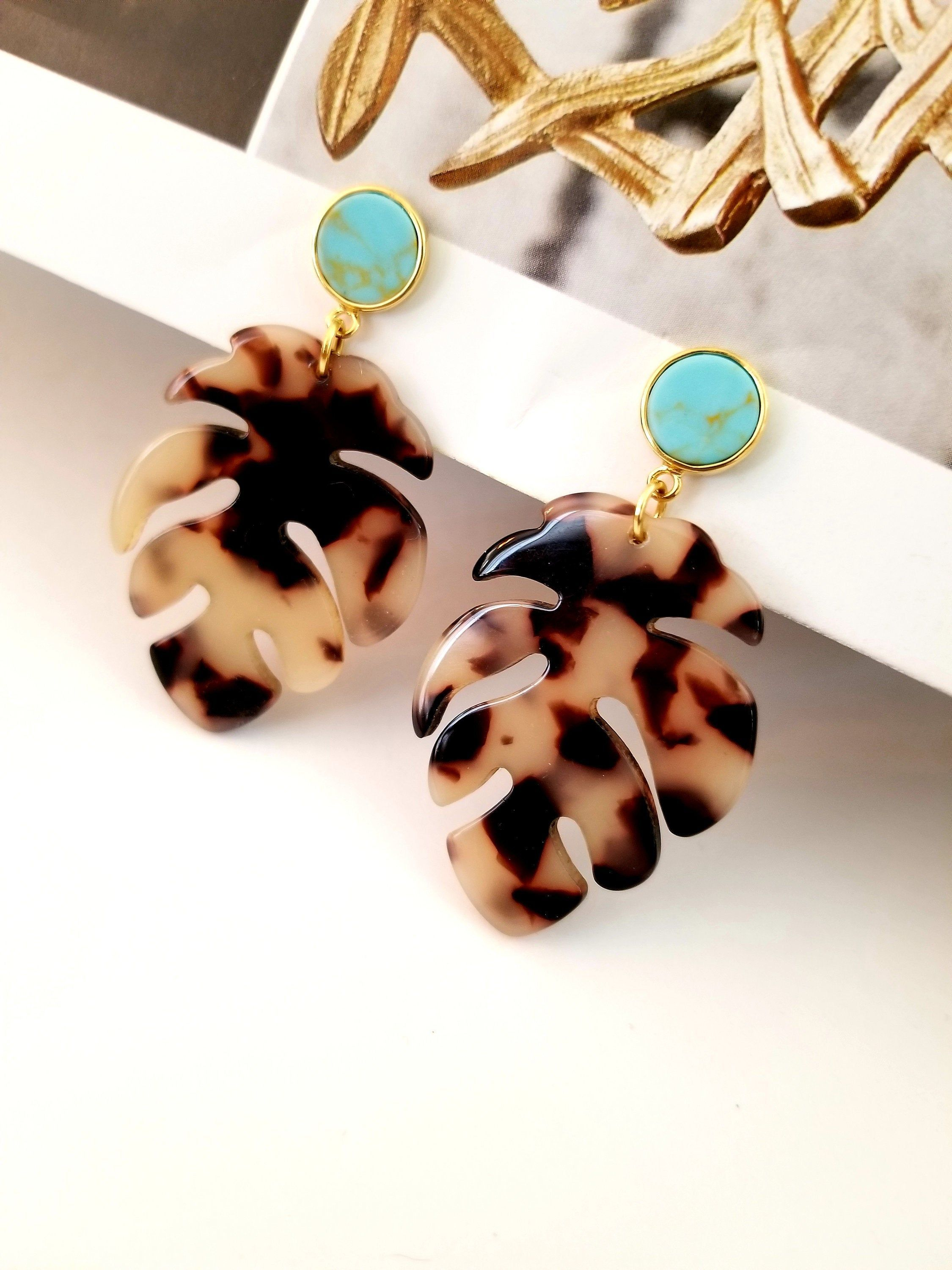 Autumn Leaf Statement Earrings / Turquoise Earrings /Tropical Jewelry / unique gift for Friends /Tortoise earrings Mothers Day Gift Ideas,  #Autumn #day #Earrings #Friends #Gift #Ideas #Jewelry #Leaf #Mothers #Statement #tortoise #tortoiseearringschristmasgifts #Tropical #Turquoise #Unique