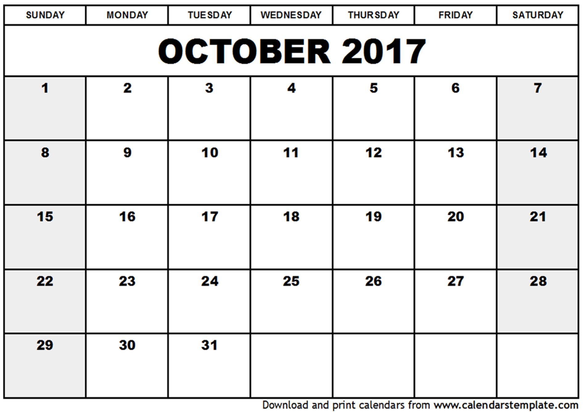 Blank Calendar October Calendar