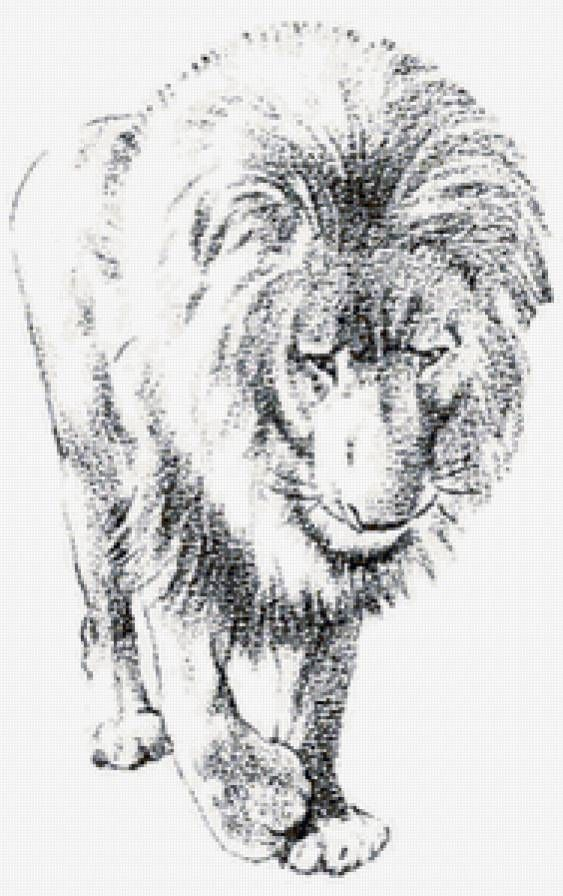 Львы черный белый вышивка