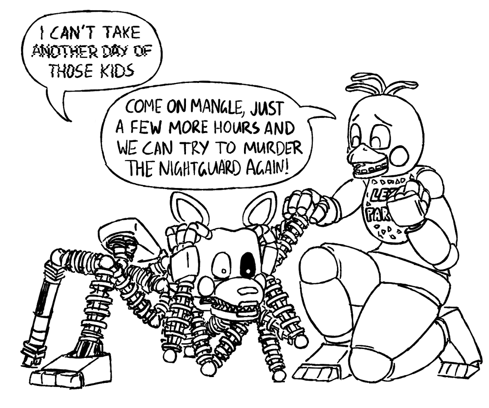 Slightlysimian For An Anon Who Wanted Toy Chica Trying To Be Motivational To The Other Bots Fnaf Funny Fnaf Memes Fnaf Drawings