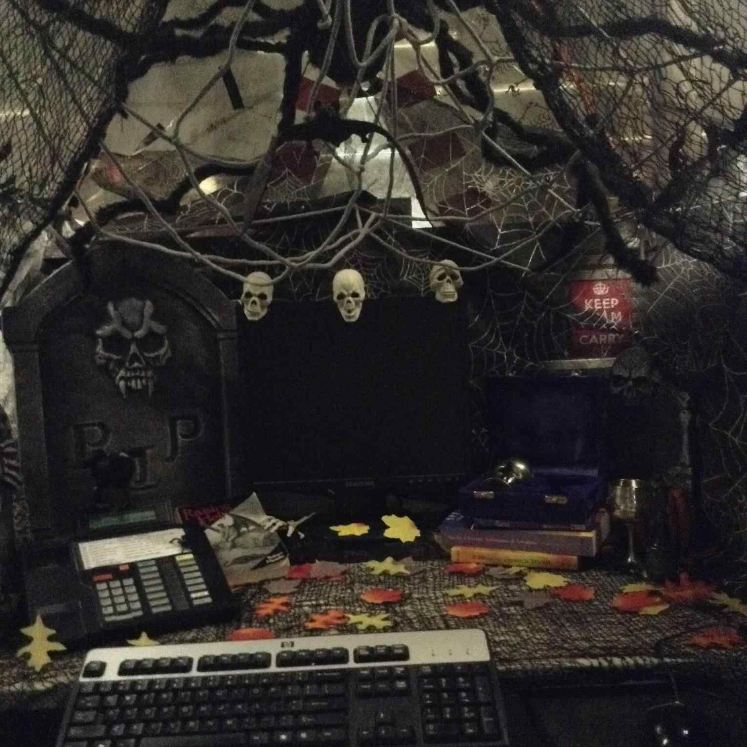 Amazing Cheap And Scary Halloween Decorations Ideas Breakpr Office Halloween Decorations Halloween Office Scary Halloween Decorations