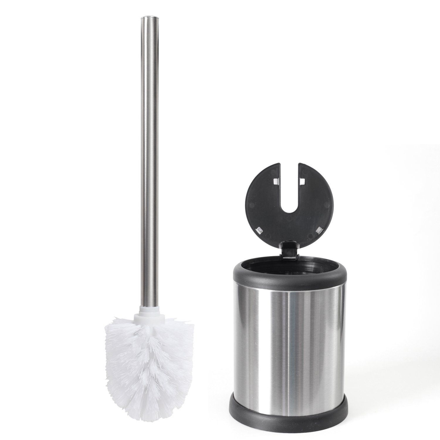 Toilet Brush And Chrome Finish Holder With A Lid For Easy Pull