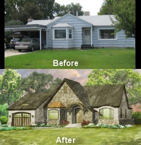 Turning a ranch with a carport into a charming tudor with