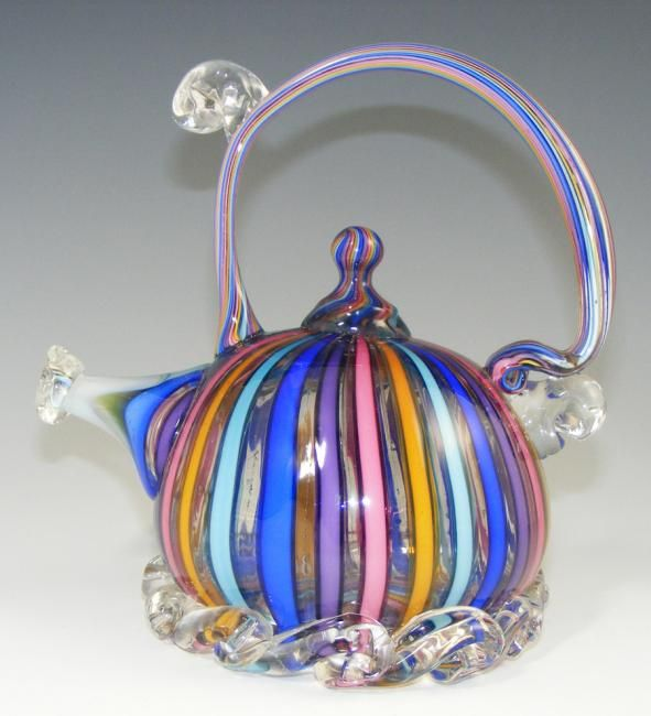 """""""Circus Cane"""" teapot by Paul Counts. Very pretty and so unusual in design - but then again there is a teapot in every conceivable design that one could imagine.  B."""