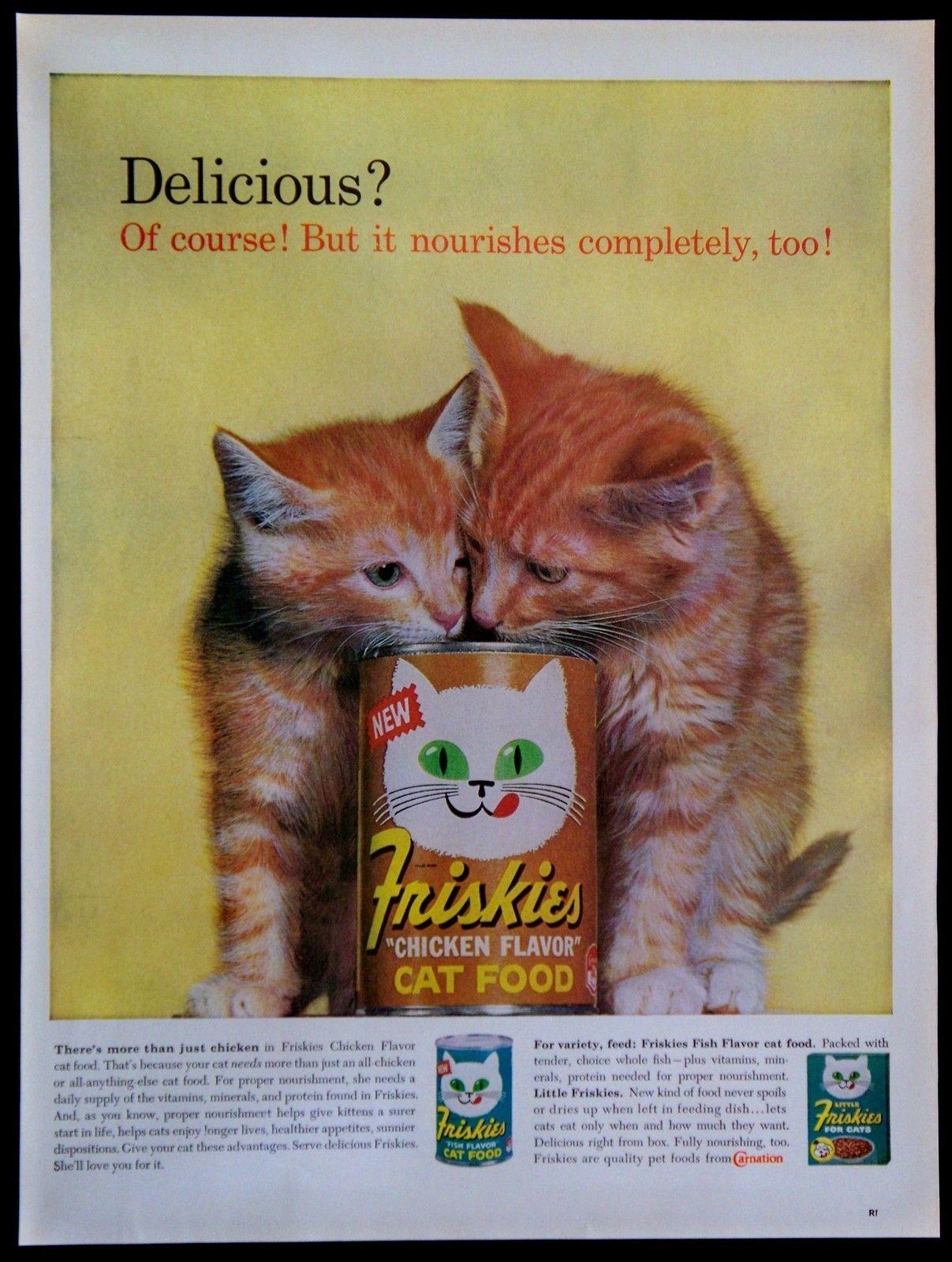 Friskies cat food vintage magazine advertisement 1963
