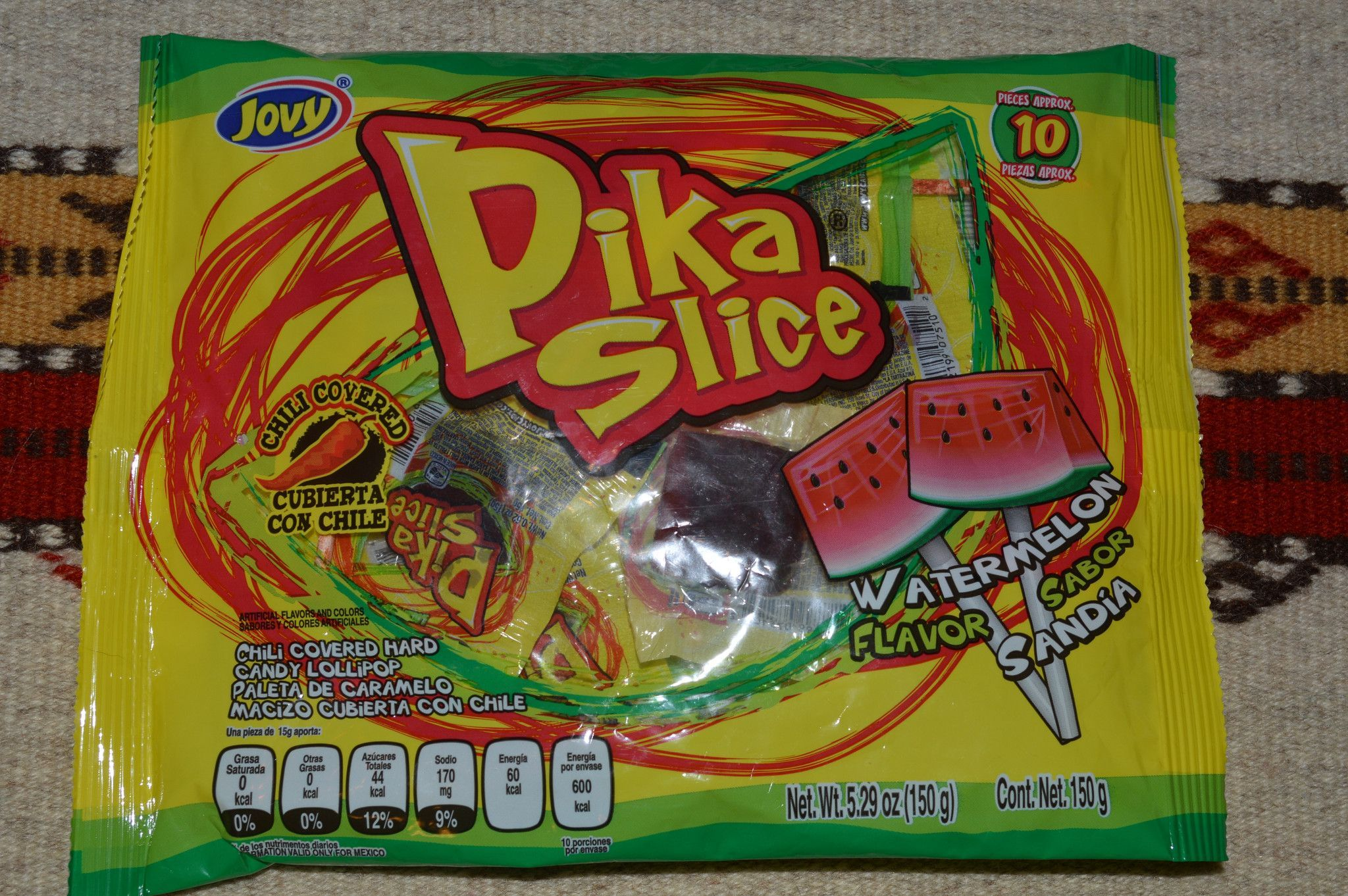 Jovy Pika Slice Sabor Sandia Chili Covered Mexican Watermelon Lollipops