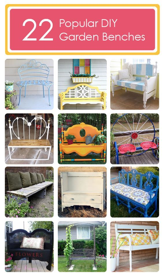 22 Popular DIY Garden Benches ... some made from dressers, headboards & footboards & wagon wheels ................. #DIY #bench #garden #headboard #footboard #dresser #chair #wagonwheel #outdoor #furniture #decor #crafts