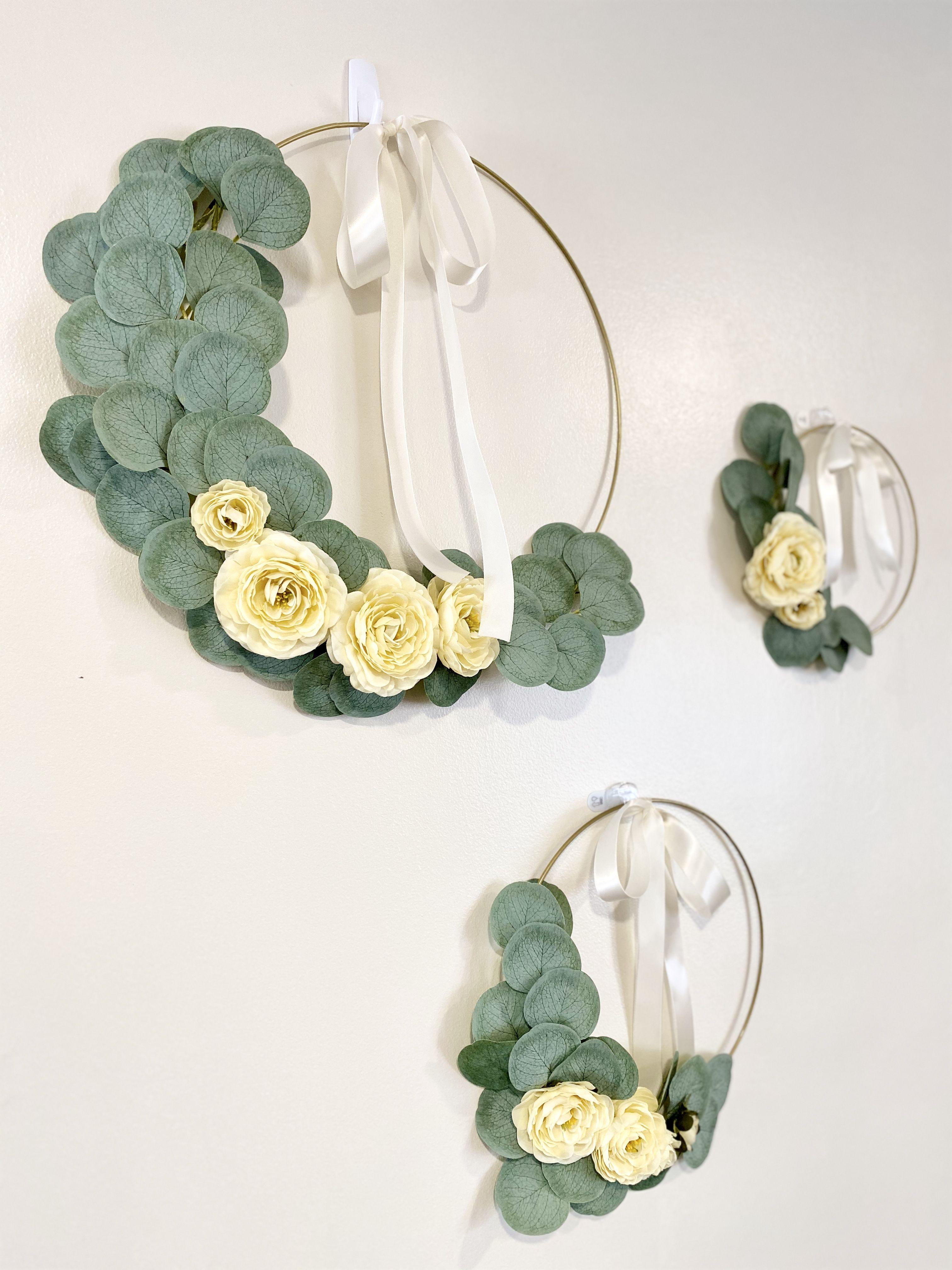 Photo of Wedding Hoop Wreath, Eucalyptus Hoop Wreath for Front Door, Children's Wreath Decor,