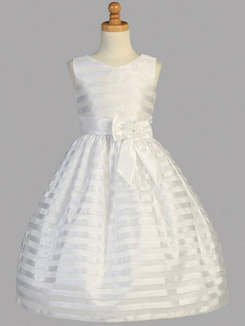 This striped First Communion dress has a beautiful shine to make your little girl stand out on her special day! Sleeveless dress has a rounded neckline and zipper back closure. There is a simple elega