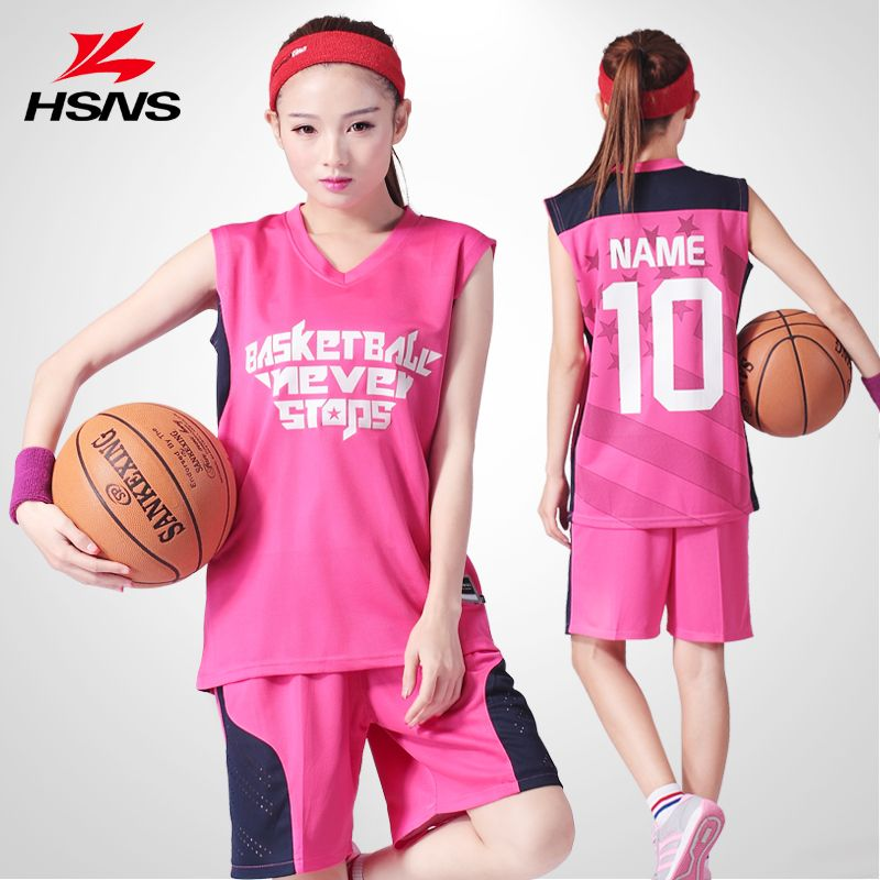 d98163d0fe7 020655 Basketball Set Breathable Lady Training Sportwear Summer Jersey Suit  Female Clothes Print LOGO Women Number Name