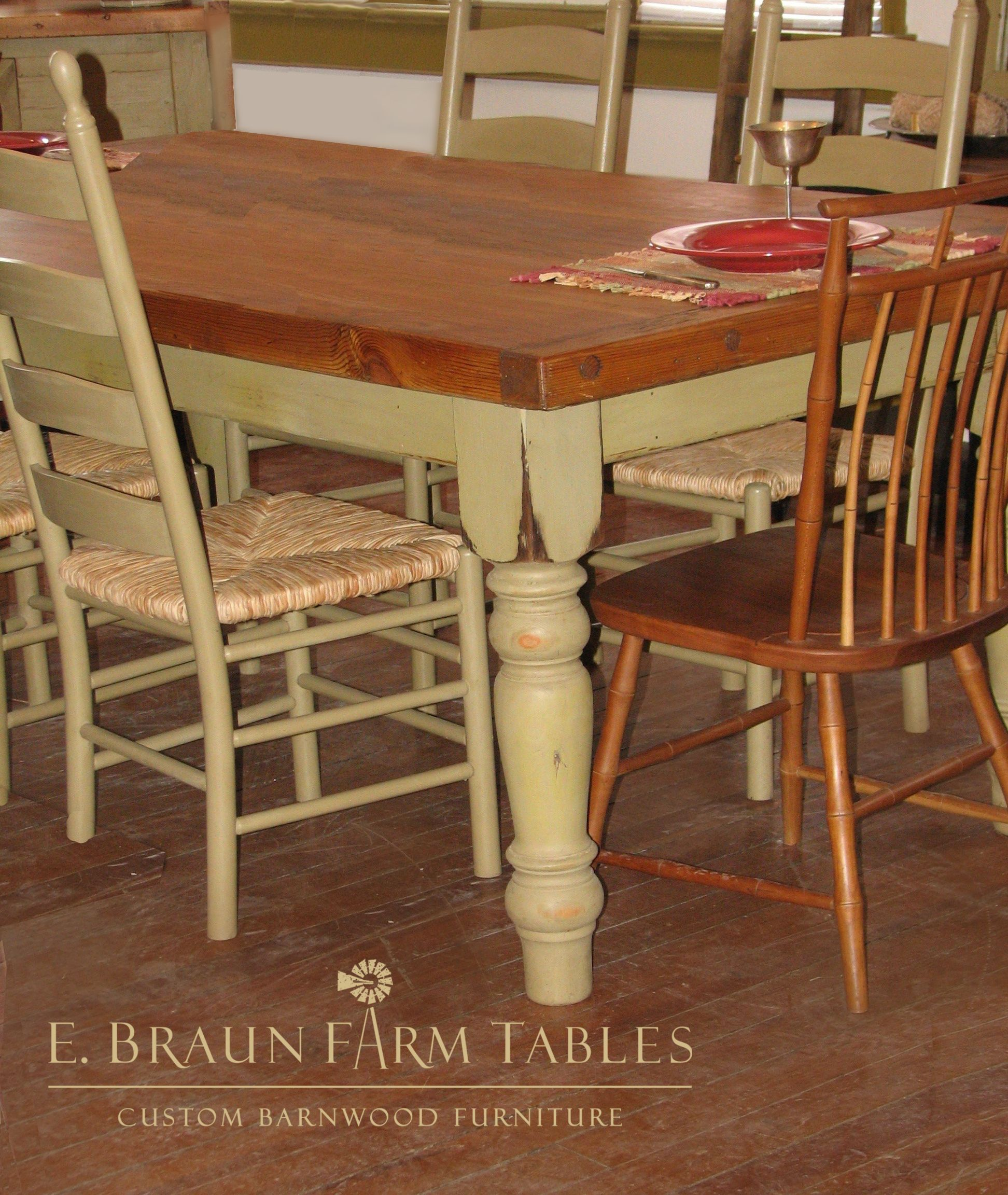 """farm table with 5"""" turned legs, crafted by E. Braun Farm"""