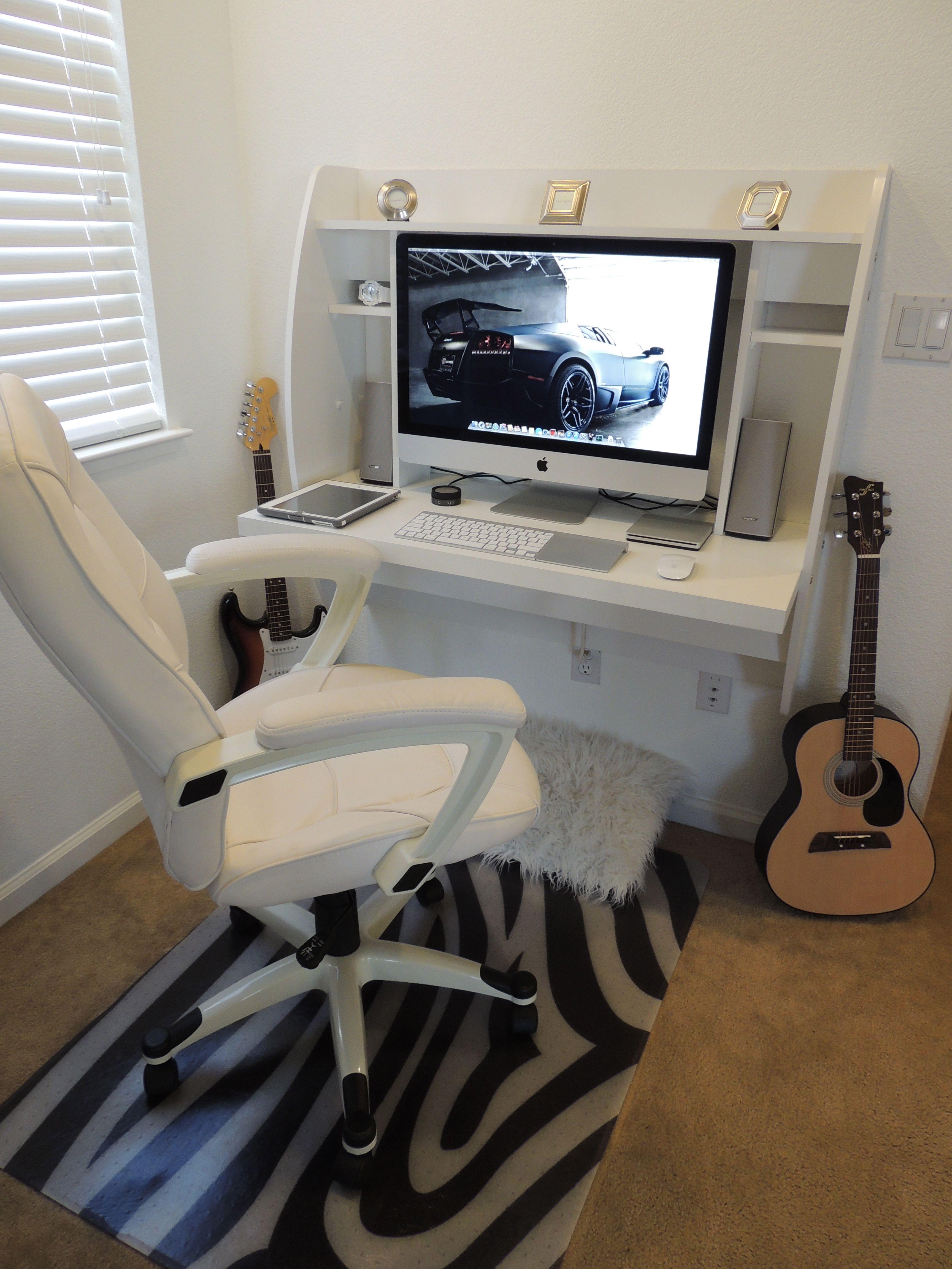 Sweet Setup With White Floating Desk 27 Imac White Floating Desk Floating Desk Desks For Small Spaces