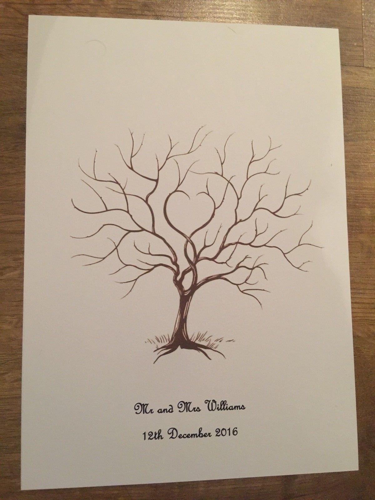 Fingerprint tree for wedding or christening - keepsake - guest book - ink pad | eBay