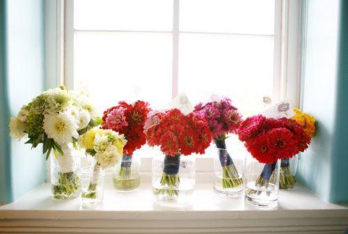 bouquets on a windowsill