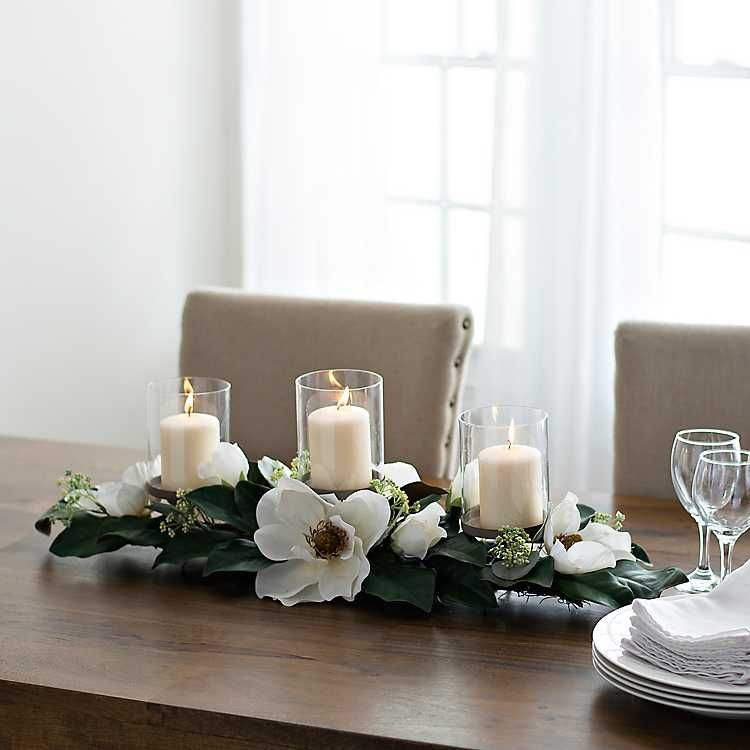 White Magnolia Centerpiece From Kirkland S Magnolia Centerpiece Dining Room Centerpiece White Magnolia