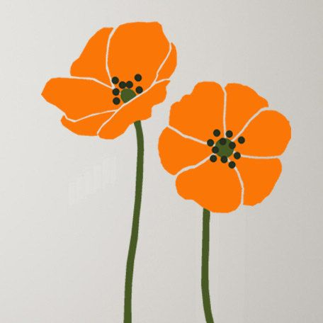 Tall poppies flower stencil for wall decor by - Flower stencils for walls ...