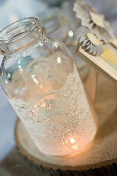 Lace Glass Jar Cute Simple Wedding Candles Diy Diy Candle Holders Wedding Lace Mason Jars