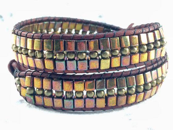 Wrap Bracelet Miyuki Bead Bracelet Brass by CupidsMoonJewelry