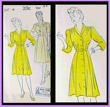 Vintage 1940s Extra Large Dress Sewing Pattern Dress Bust 40