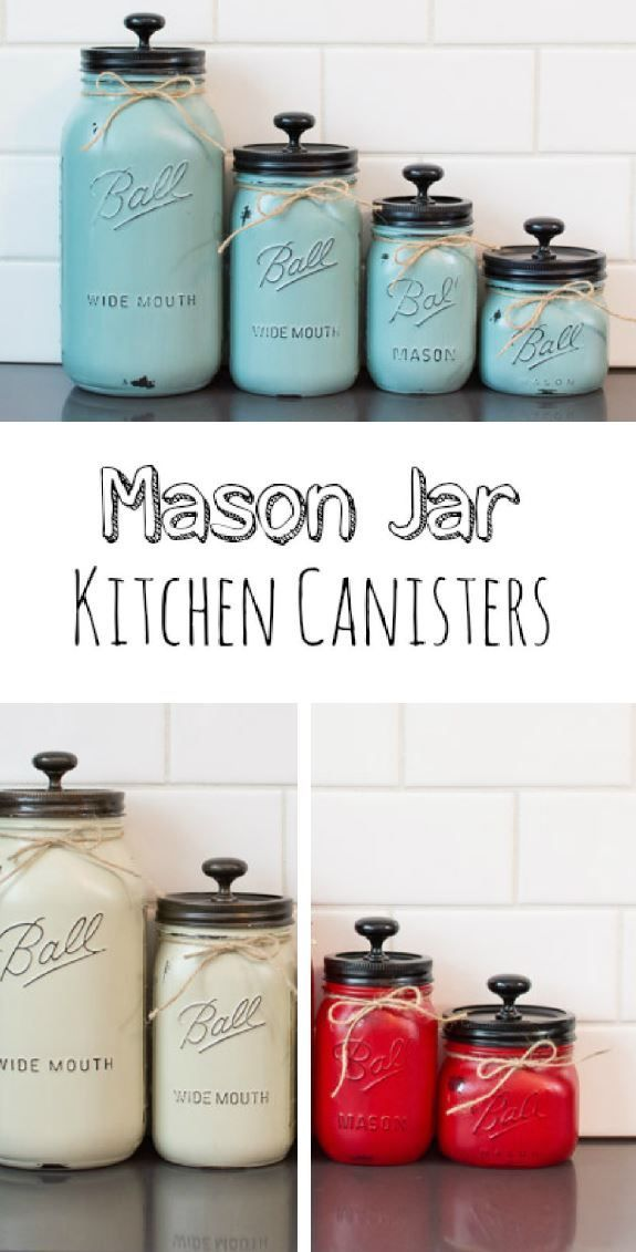 Set Of 4 Mason Jar Kitchen Canisters   Available In Blue, White, And Red   Rustic  Kitchen Decor   #kitchen #ad #etsy | Home Sweet Home | Pinterest | Mason ...