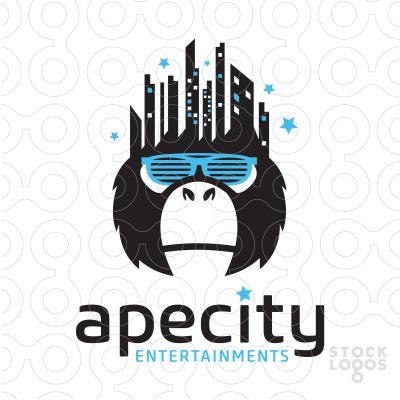 Ape City Entertainments Buy Premade Readymade Logos For Sale Cityscape Logo Graphic Design Logo Logo Design Creative