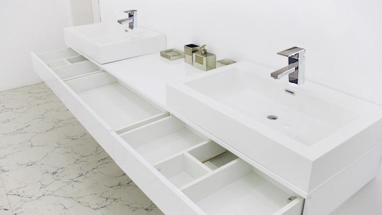 Pour notre SdB: Meuble salle de bain double vasques design ...
