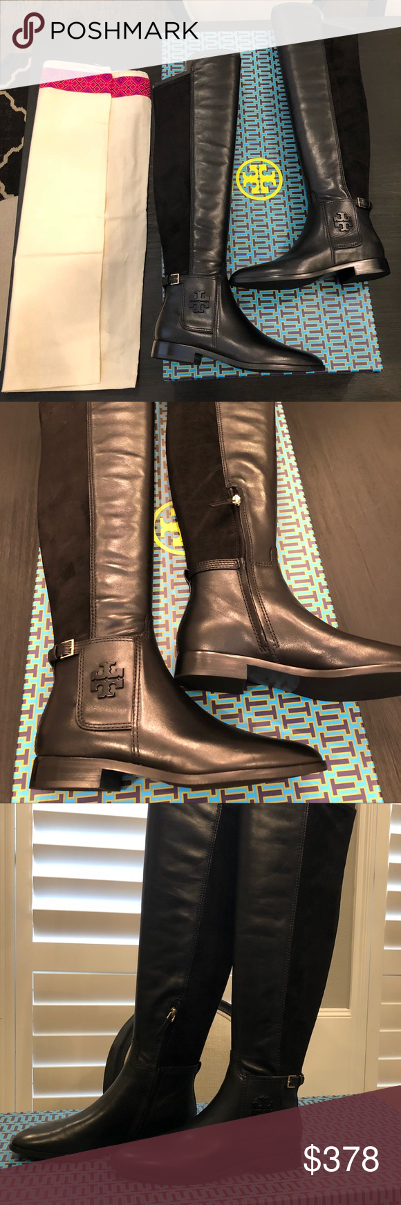 716400acbb7 Tory Burch Over the Knee Wyatt Boots Sz.8.5 Tory Burch WYATT Over the knee  Leather Riding Flat Boots BRAND NEW