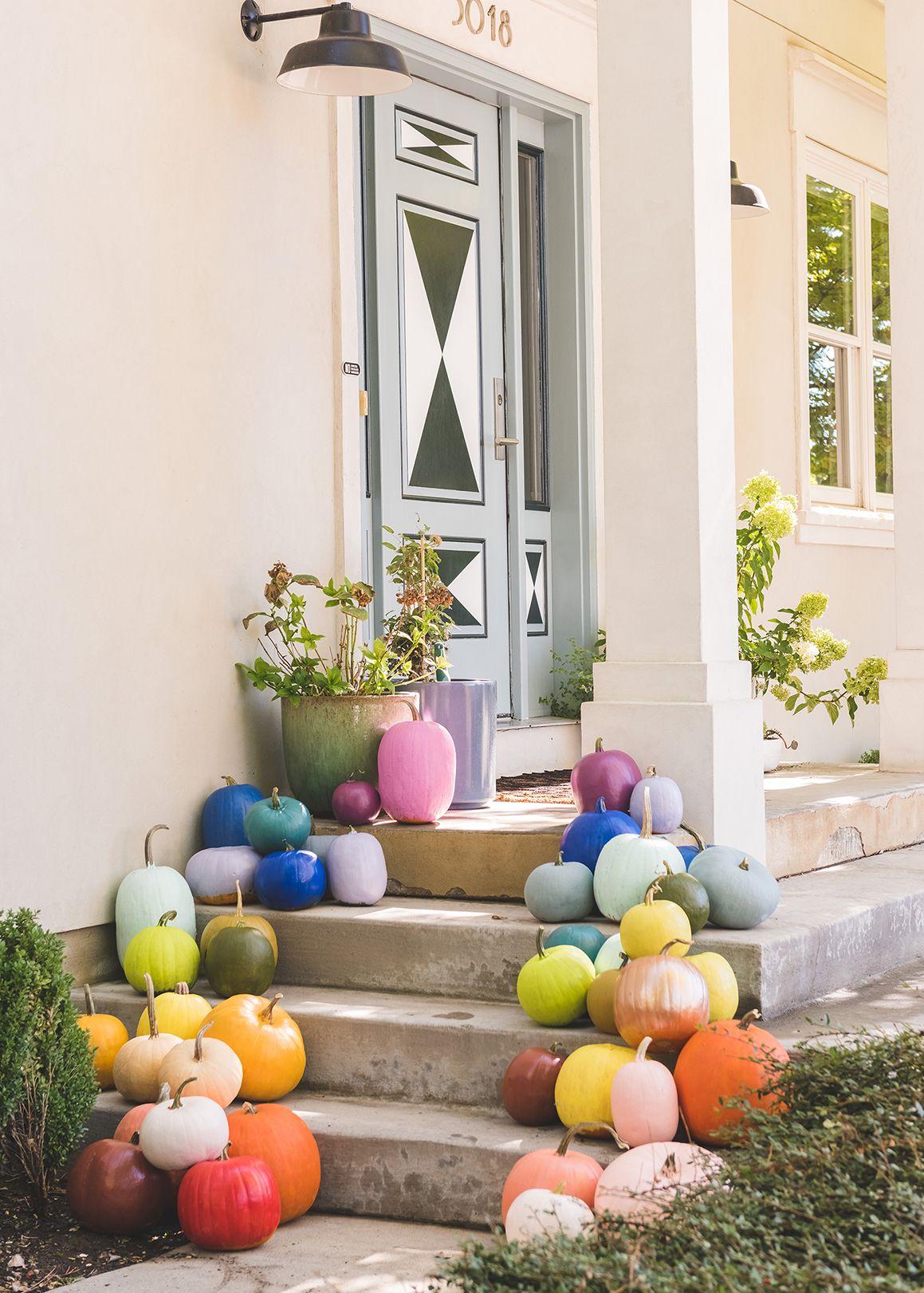 DIY Rainbow Pumpkins Halloween decorations, Halloween