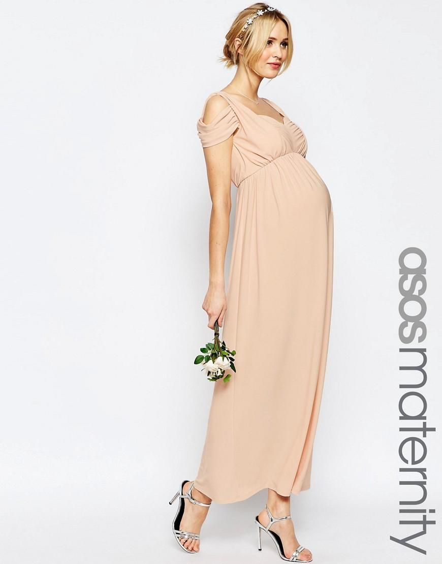 Asos Maternity Wedding Drape Cold Shoulder Maxi Dress At Asos Kleider Fur Frauen Schwangerschaftskleid Schwanger Hochzeit