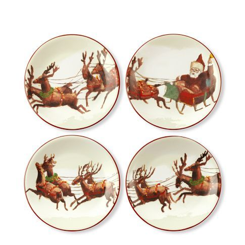 Santa and His Reindeer Dessert Plates \u003c\u003e (Christmas Deer-io dishes  sc 1 st  Pinterest & Santa and His Reindeer Dessert Plates \u003c\u003e (Christmas Deer-io dishes ...