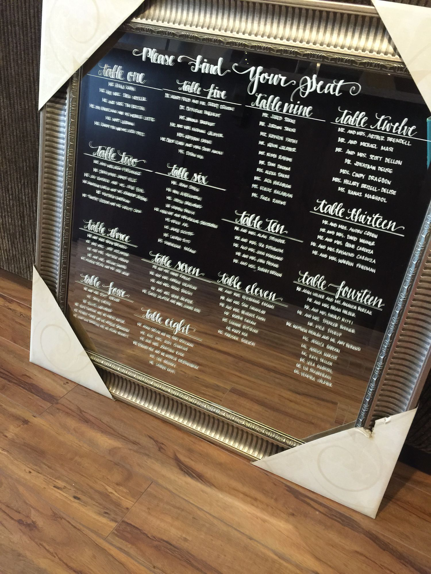 Calligraphy Hand Written Wedding Seating Charts On Mirrors