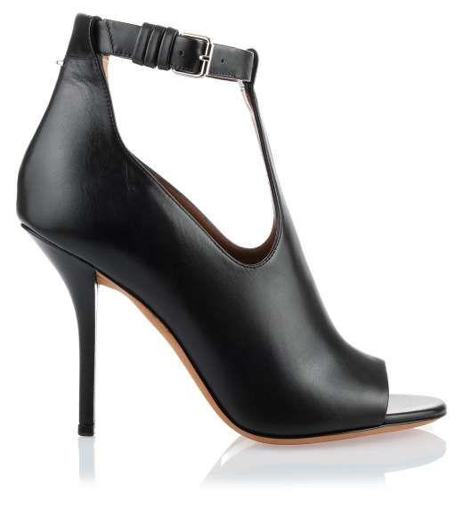 Black leather t-bar sandal