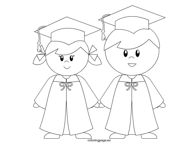 Kindergarten Graduation Coloring Page For Preschool Kindergarten