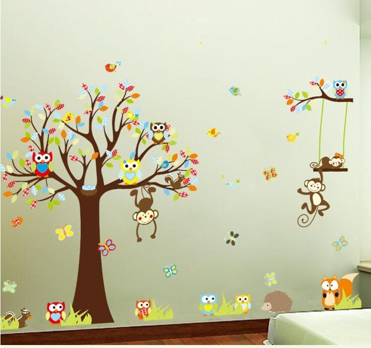 nursery monkey tree wall decals [et16] - $38.00 : wall stickers ...